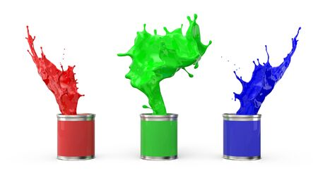 Three cans of paint and splashes of them on a white background. Definition of RGB color system. 3 d illustration. Stock Photo