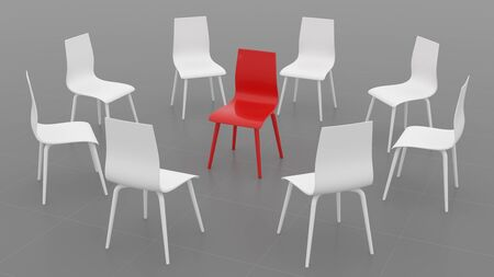 Red chair in a circle of white chairs on a gray background. Business large meeting. 3d illustration.