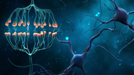 Synapse and Neuron cells sending electrical chemical signals. Digital synapse illustration on blue background. 3 D illustration .