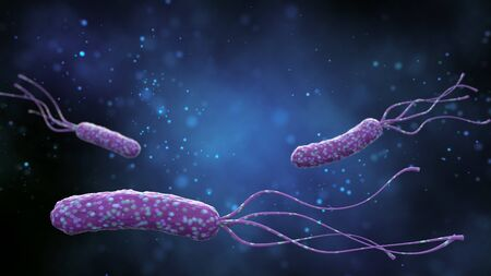 Illustration of Helicobacter pylori bacteria on an abstract blue background. Medical concept. 3 d render. Stockfoto