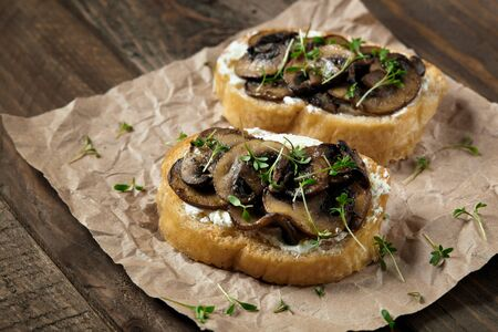 Bruschetta with cheese, mushrooms and micro-greens on parchment. 스톡 콘텐츠