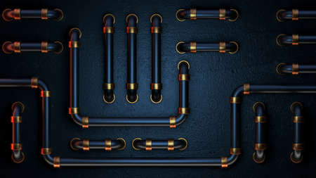 Abstract blue metallic background. 3d render of a metal panel with tubes. Wallpaper image for PC or mobile devices. Banque d'images