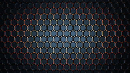 Abstract geometric hexagonal background. 3D rendering Banque d'images