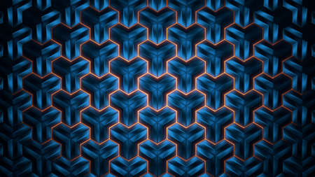 Abstract geometric background. Abstract blue polygon in rays of light. 3d illustration.
