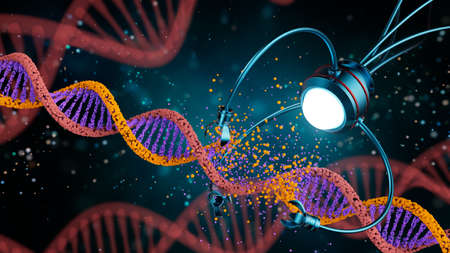 Medical concept in the field of nanotechnology. Genetic engineering and the use of nanorobots to replace part of the DNA molecule. 3 D illustration.