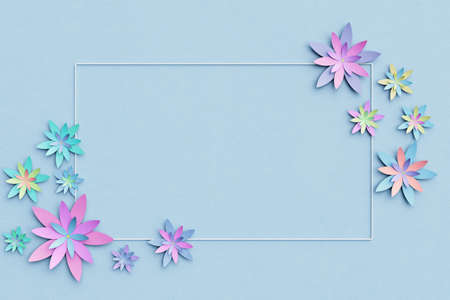 Beautiful flower arrangement. Flowers on a light blue background. Empty photo frame for text. Greeting card. Flat lay, copy space. Flat lay, copy space. 3 d illustration. Banque d'images