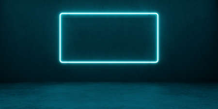 Neon rectangular glowing frame of blue color against a background of a concrete wall. Banner with blank space. 3d illustration.