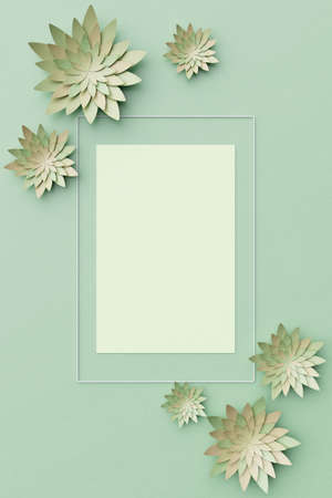 Beautiful flower arrangement. Flowers on a light green background. Empty photo frame for text. Greeting card. Flat lay, copy space. Flat lay, copy space. 3 d illustration. Banque d'images