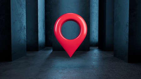 3 d red location symbol. Map pointer icon on a dark blue background. 3 d illustration.