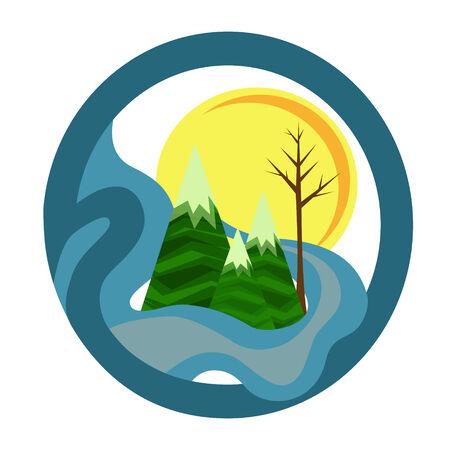 Vector Illustratie van een ronde Natuur Icon Met Bergen, Meer, Tree en Sun