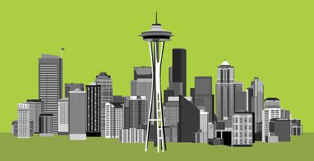 Vector Illustration of City of Seattle Washington Vector