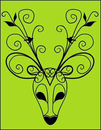 Vector illustratie van artistieke Deer Antler Silhouet Mask