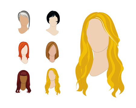 Vector Illustration Set of Hair Colors and Styles for Professional Use