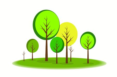 Vector illustratie van de Boom van de Lente Tuin Landschap