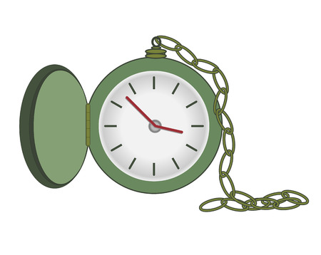 Vector Illustration of Pocket Watch With Chain