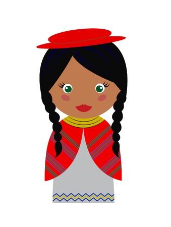 Vector Illustratie van de Boliviaanse Meisje in Inheemse Kleding