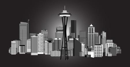 seattle: Vector Illustration of City of Seattle Washington