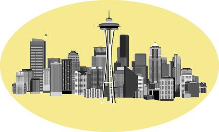 Vector Illustratie van de Stad van Seattle Washington Stock Illustratie