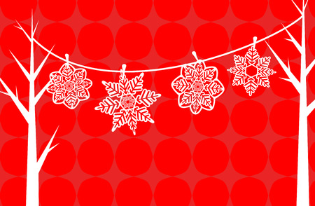 Vector illustratie van papier Snowflake Rode Achtergrond