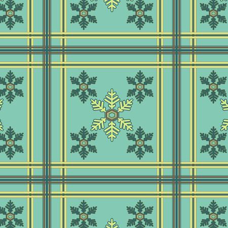 Snowflake seamless pattern olive