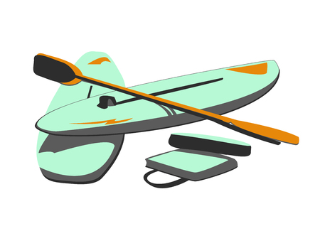 Vector Illustration of Water Boards & Paddles Vector