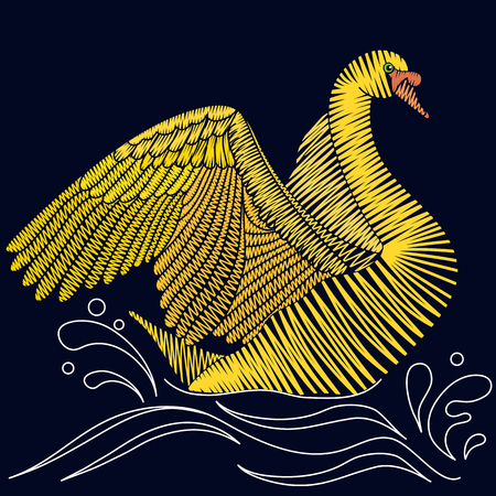 Embroidery Swan design. Decorative bird for fabric, textile prints, clothing and t-shirts, patches or stickers.