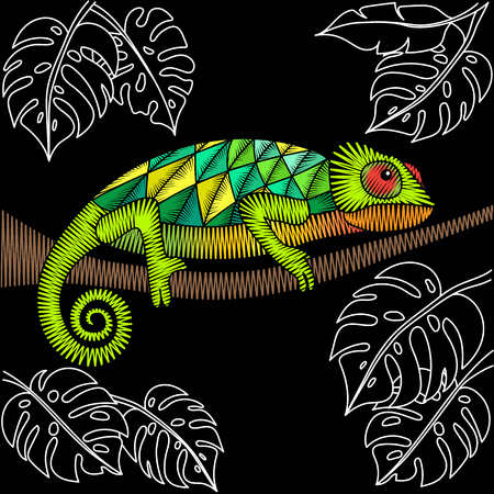 Embroidery chameleon artwork for clothing, patches and stickers. Tropical lizard and monstera leaves. Decorative fancywork elements and fabric design. Vector Illustration