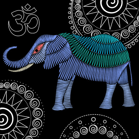 Embroidery elephant artwork for clothing, patches and stickers. Om symbol and mandalas. Decorative fancywork elements and fabric design.