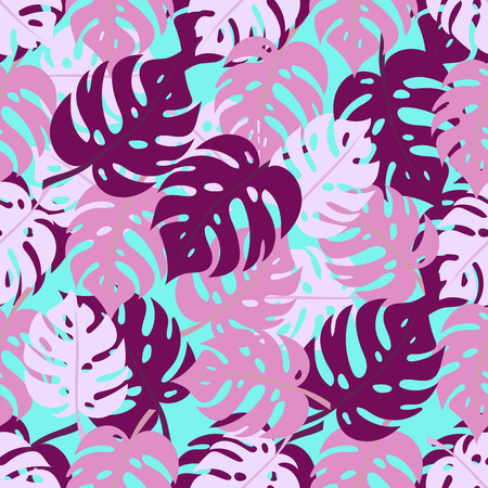 Seamless pattern with monstera leaves in pink colors. Tropical texture. Colorful exotic design for fabric and textile prints, paper gift wrap, wall art backgrounds.
