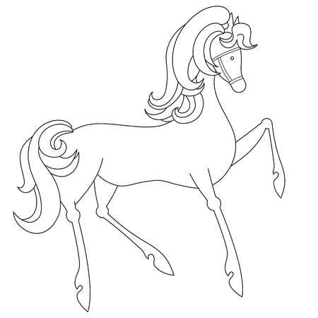 Coloring page of mustang horse. Cartoon clipart design for kids and children. Illustration