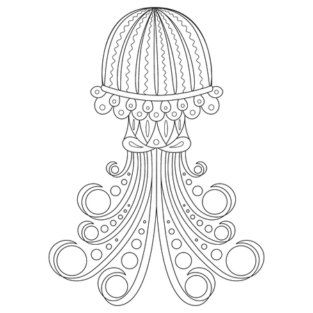 Coloring page of jellyfish. Cartoon clipart design for kids and children.