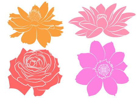 Collection de silhouettes florales, isolées sur fond blanc. Sertie de souci, rose, lotus (nénuphar) et fleur de cosmos. Éléments de mode pour tissus et textiles imprimés, patchs ou autocollants. Vecteurs