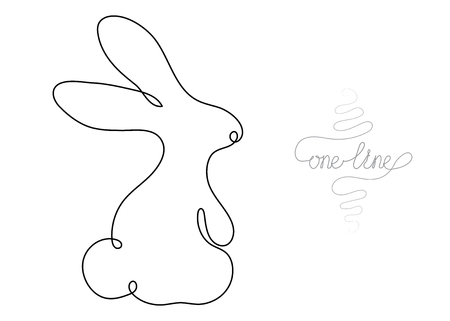 Single line drawing. Continuous one line art. Rabbit animal. Hand drawn modern minimalistic design for creative , icon or emblem. Çizim