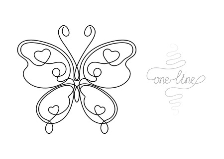 Single line drawing. Continuous one line art. Butterfly insect. Hand drawn modern minimalistic design for creative , icon or emblem.