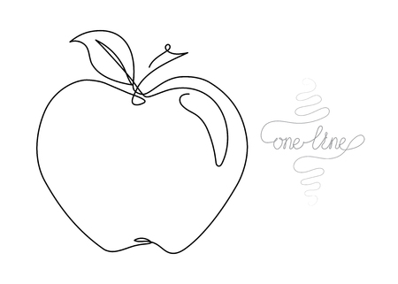 Single line drawing. Continuous one line art. Apple fruit. Hand drawn modern minimalistic design for creative , icon or emblem. Vector Illustration