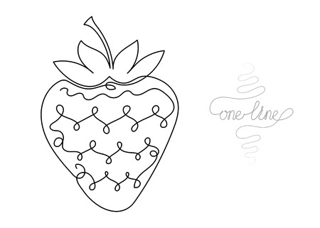 Single line drawing. Continuous one line art. Strawberry fruit. Hand drawn modern minimalistic design for creative , icon or emblem.