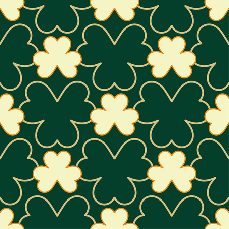 Happy St. Patrick's Day background. Seamless pattern with decorative clover leaves. Repeating pattern with lucky shamrock.