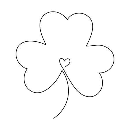 One line drawing. Continuous line art. Clover leaf or shamrock. Hand drawn minimalistic design for simple icon or emblem for St. Patrick Day.