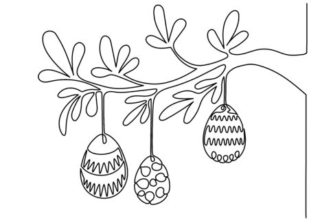 One line drawing. Continuous line art. Easter eggs hanged on tree branch. Hand drawn minimalistic design for simple  icon or emblem for Happy Easter Day.