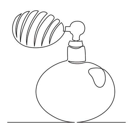 One line drawing. Continuous line art. Perfume bottle. Vintage female fragrance spray. Hand drawn minimalistic design for simple  icon or emblem. Editable stroke.