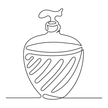 One line drawing. Continuous line art. Liquid soap in pump bottle. Hand drawn minimalistic design for simple  icon or emblem. Editable stroke. Ilustracja