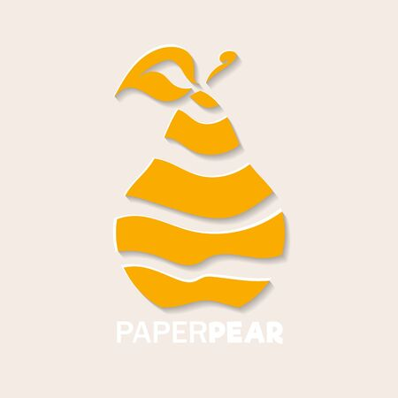 Pear icon in paper cut style. Yellow pear fruit cutted into pieces. Abstract modern web icon or logo with a text on light background. Ilustração