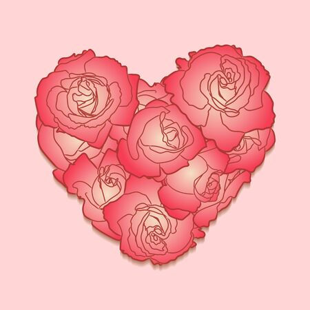 Red roses in lovely heart silhouette. Hand drawn doodle flowers for Valentines Day greeting card, patch or sticker. Foto de archivo - 131979809