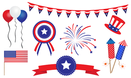 independent day: American United States 4th of July Badges Banner