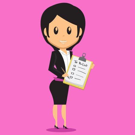 proffesional: Cartoon Office Woman Character bring a note that contain her to do list