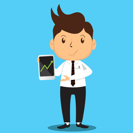 proffesional: Cartoon Office Man Character presenting a success of his company sales with her smartphone Illustration