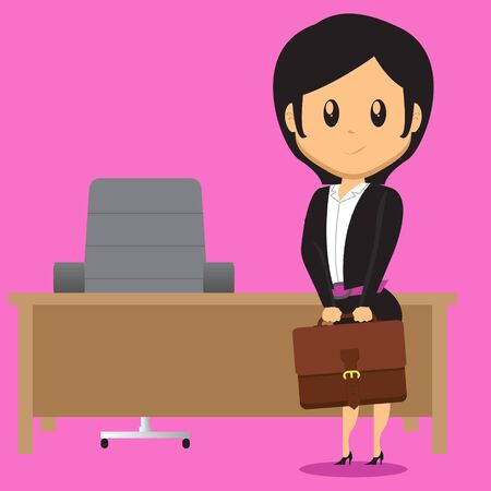 carreer: A cartoon Office Lady Character standing in front of her Work Desk in office holding her Bag Illustration