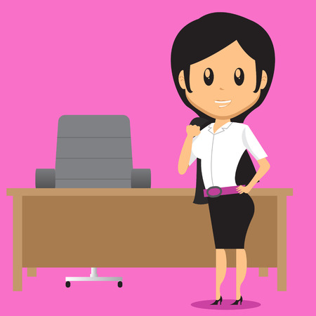 proffesional: Cartoon Office Woman Character standing infront of her desk, She take off her Blazer because it