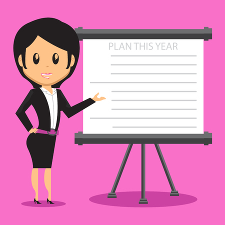 proffesional: Cartoon Office Woman Character presenting her company plan to achieve success on Sales or Project