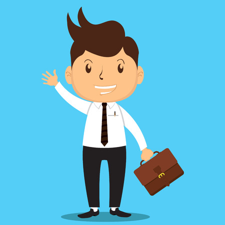 proffesional: Cartoon Office Man Character bring His Bag and Ready to go to work